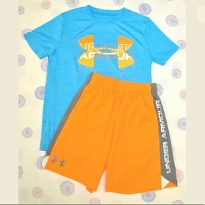 UNDER ARMOUR shirt shorts outfit Youth S/M